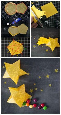 un faire-part de naissance fait maison en forme d'étoile
