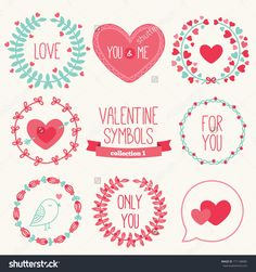 Set Of Holiday Symbols - Wreathes, Hearts. Perfect For Wedding And Valentine'S Day Stock Vector Illustration 171148085 : Shutterstock