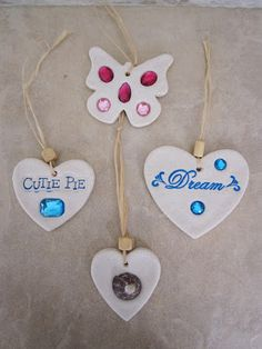 Salt Dough Ornaments with Gem Stones and Shells, Dream, Cutie Pie, Hearts, Butterflies hanging ornaments