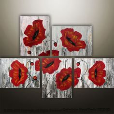 Abstract Floral Poppies Modern Painting Original Art by Gabriela 44x32 ~ Love these and I already have one Poppy painting on the wall sothese would compliment nicely!