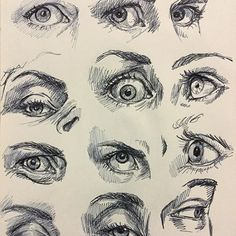 Some much needed eye studies drawing mostly my eyes from a mirror with a couple side views I found online. #drawing #sketchbook #sketch #eyestudy #pen