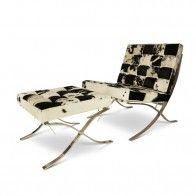 Barcelona Chair Cowhide with ottoman black-white