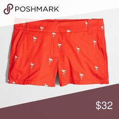 "J. Crew Factory 3"" Chino Flamingo Shorts Sz 0 NWT J. Crew Factory  3"" City Fit Chino Embroidered Flamingo Vibrant Red Size 0 100% Lightweight Cotton Shorts NWT, Sits Just Above Hips, Zip Fly, Slant Pockets, Back Welt Pockets, Machine Wash J. Crew Factory Shorts"