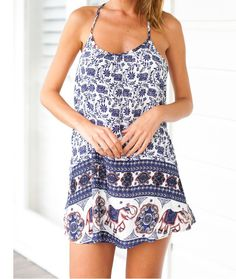 Sweet baby elephant pattern printing harness dress AX5907ax