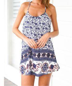 Sweet baby elephant pattern printing harness dress AX5907ax