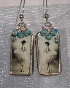 Vintage Ballerina Soldered Glass Earrings by BlueDeskStudio