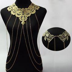 2016 Sexy Golden Lace Choker Multi Layer Bikini Chain Body Necklace Women Multilayer Tassel Belly Jewelry Wholesale Free Ship