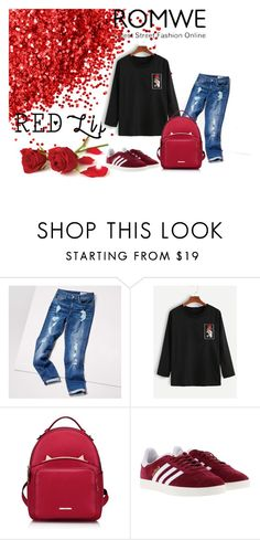 """Red rose romwe"" by mercija ❤ liked on Polyvore featuring Tommy Hilfiger, WithChic and adidas"