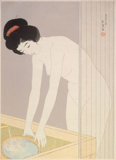 Woman at the Bath  Hashiguchi Goyō (Japan, 1880-1921)  Japan, July 1920 (design date; printed posthumously)  Prints; woodcuts  Color woodblock print  Image: 19 13/16 x 14 1/4 in. (50.3 x 36.2 cm); Paper: 21 13/16 x 16 5/16 in. (55.4 x 41.5 cm)  Gift of Mr. and Mrs. Felix Juda (M.73.37.343)  Japanese Art