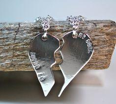 Couples Jewelry  Couple Necklace  Broken Heart by UrbanJule, $150.00