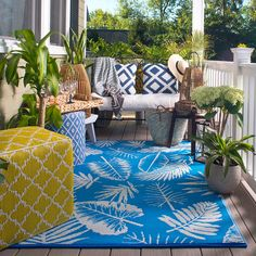 Fab Rugs World Samarkand Indoor/Outdoor Blue Rug Rug Size: x Outdoor Carpet, Indoor Outdoor Area Rugs, Outdoor Living, Outdoor Decor, Samara, Rug World, Eclectic Decor, Modern Rugs, Beige Area Rugs