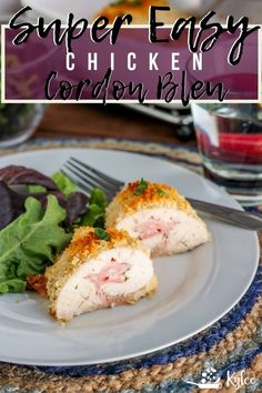 This Homemade Dish Is Crispy And Delicious, Filled With Cheese And Ham. It Is An easy Version Of The Famous French Meal That Is Ready In About One Hour. . Baked Chicken Cordon Bleu, Easy Baked Chicken, Easy Chicken Recipes, Chicken Ideas, Turkey Recipes, Walnut Chicken Recipe, Cashew Chicken, Swiss Chard Recipes, Bean Recipes