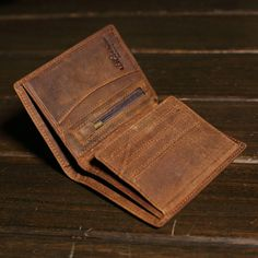 Handmade Mens Vintage Leather Trifold ID Wallet Card Case Purse