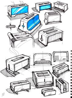 Industrial design sketches by Mike Serafin