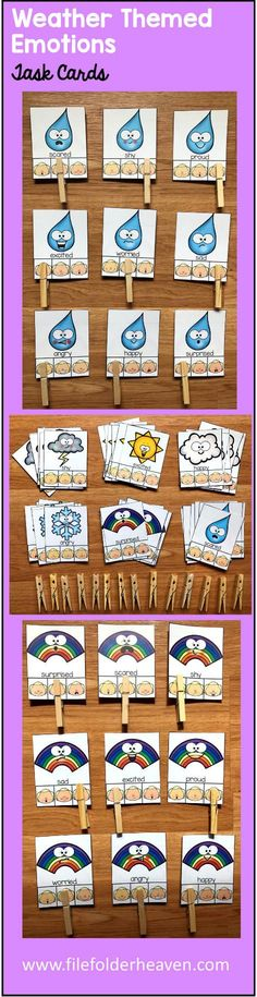These Weather Emotions Task Cards are a fun and seasonal way for students to practice identifying emotions. There are six sets included: Raindrop Emotions, Snowflake Emotions, and Thunderstorm Emotions, Cloud Emotions, Rainbow Emotions and Sunshine Emotions for a total of 54 cards.  At a center, work station or small group, students practice identifying emotions by looking at each card and matching the raindrop/snowflake/thunderstorm/cloud/rainbow/sunshine emotion to the human emotion…