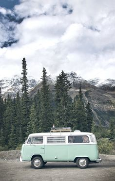 Would love to drive this light blue Volkswagen van, through the mountains of Alberta, Canada #roadtrips