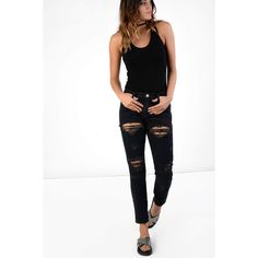 Glamorous Navy Torn Straight Leg Jeans (£10) ❤ liked on Polyvore featuring jeans, navy, ripped jeans, destroyed skinny jeans, white distressed skinny jeans, distressed straight-leg jeans and white skinny jeans