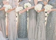 mismatched silver glitter bridesmaid dresses #emmalovesweddings #weddingideas201 Glitter Bridesmaid Dresses, Sparkly Bridesmaids, Mismatched Bridesmaid Dresses, Wedding Bridesmaids, Sparkle Dresses, Charcoal Bridesmaid Dresses, Flattering Bridesmaid Dresses, Bridesmaid Gowns, Wedding Dresses
