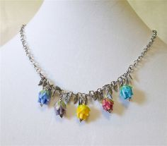 Lampwork glass flowers and silver leaves necklace