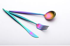 Prismatic Color Rich Stainless Steel Flatware Set | | Gorgeous, Prismatic Color Rich Stainless Steel Flatware Set is the ultimate dinnerware set. Dress up the place settings at your table with silverware set in an unexpected colorful and creative finish sure to catch everyone's eye.