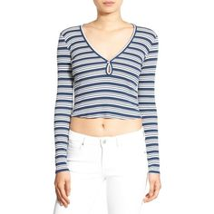 Women's Chloe & Katie Stripe Long Sleeve Crop Tee ($29) ❤ liked on Polyvore featuring tops, t-shirts, striped long sleeve t shirt, long sleeve tees, long t shirts, white crop top and long tee