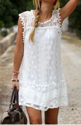 Simple Scoop Collar Sleeveless Spliced Solid Color See-Through Dress For Women (WHITE,XL) | Sammydress.com Mobile