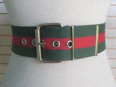 Ladies 40s 50s GREEN And RED  STRIPE  Belt 1950s by Flipsville, $18.00