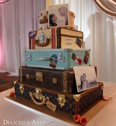 Vintage Travel Suitcases Cake by Delicious Arts.com