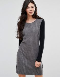 Buy it now. Lavand Shift Dress with Black Arms - Grey. Dress by Lavand, Stretch woven fabric, Round neckline, Contrast long sleeves and back, Regular fit - true to size, Machine wash, 95% Polyester, 5% Elastane, Our model wears a UK S/EU S/US XS and is 180cm/5'11 tall. , vestidoinformal, casual, camiseta, playeros, informales, túnica, estilocamiseta, camisola, vestidodealgodón, vestidosdealgodón, verano, informal, playa, playero, capa, capas, vestidobabydoll, camisole, túnica, shift, plea...