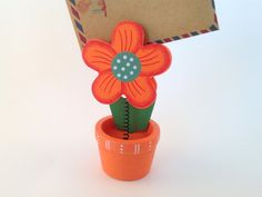 Handmade Orange Daisy Flower Pot Card Holder, Photo Clip, Wooden - Paper Clip, Tag Holder, Clamp, Office Supply on Etsy, $4.25