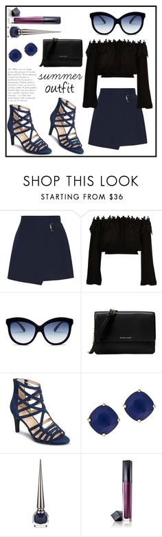 """""""Navy sandals"""" by rainy-dayze ❤ liked on Polyvore featuring Carven, River Island, Italia Independent, Michael Kors, Aerosoles, Kate Spade, Christian Louboutin and Estée Lauder"""
