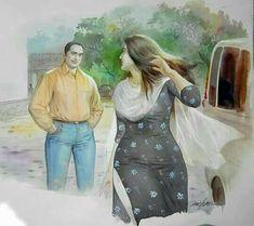 Paintings of Artist Mohan Manimala Indian Women Painting, Indian Art Paintings, Paintings Online, Indian Artist, Buy Paintings, Sexy Painting, Woman Painting, Painting Canvas, Indian Art Gallery