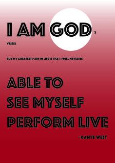 FASE 3: digitale ontwerpfase in deze versie komt vooral de arrogantie naar voor > KANYE = GOD  (hij kan zichzelf nooit live zien maar wel zijn kledinglijn, zijn albums, video's, ...)
