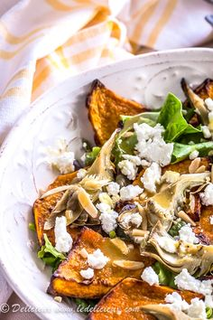 Roasted Butternut Squash, Artichoke and Goat Cheese Salad