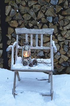 firewood, lantern, pine cones