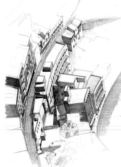 Urban on Behance ~ architecture pencil drawings by Dina Haddadin