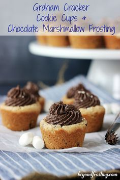Graham Cracker Cookie Cups with Chocolate Marshmallow Frosting | beyondfrosting.com
