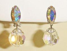 147~Vintage 60's Clear AB Crystal Dangle Earrings Signed Lewis Segal California #LewisSegal #DropDangle