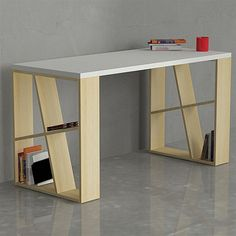 The Decortie Honey Office Desk is the perfect piece for a contemporary interior. Thanks to the angular shelving within the two sides you can not only enjoy sitting at this table but also having a place to put away your favorite b Home Office Furniture, Furniture Projects, Wood Furniture, Modern Furniture, Furniture Design, Geometric Furniture, Diy Décoration, Home Office Design, Furniture Inspiration
