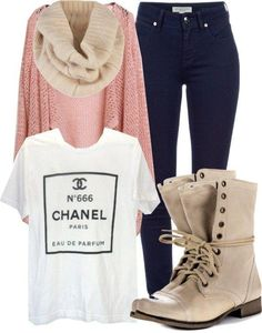 Fall/ winter outfit ideas. Skinny jeans. Oversized sweater. Combat boots. Chanel tee. Nude scarf. Love!