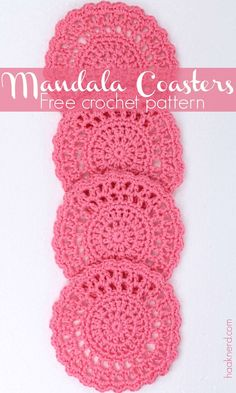 Free crochet pattern with a step-by-step photo tutorial for coasters via @haaknerd