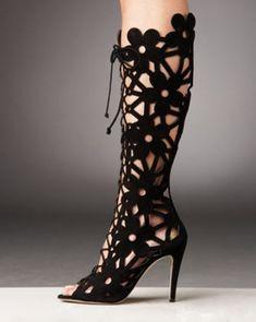 Manolo Blahnik Lace Up Cutout Boot