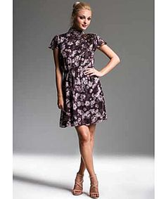 New Friends Colony Embellished Mock Neck Dress With Short Belle Sleeve