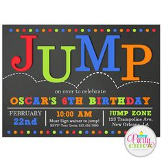 Jump Invitation Printable Or Printed With FREE SHIPPING Jump - Party invitation template: free bounce party invitation template
