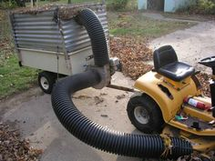 Low Budget Rider Leaf Vac Lawn Vacuum Homemade Tractor Mower Trailer Garden