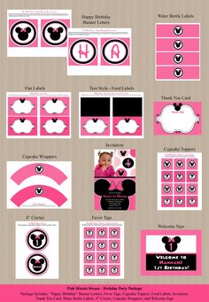 Minnie Mouse Birthday Party Package  Birthday by Honeyprint, $35.00