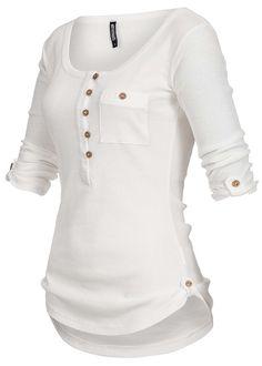 9fbd50adcc53ca Hailys Damen Shirt 3 4 Turn-Up Ärmel halbe Knopfleiste Brusttasche weiss -  77onlineshop
