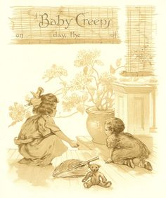 free+vintage+post+pretty | Vintage Baby Clip Art: Page from Vintage Baby Book Recording Crawling
