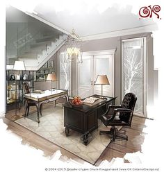 Дизайн кабинета в двухуровневой квартире  http://www.ok-interiordesign.ru/blog/dizayn-mini-kabineta-v-dome-i-kvartire.html