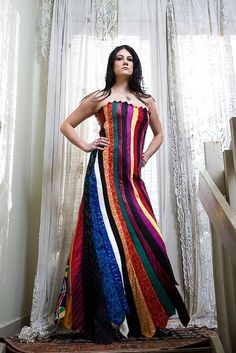 Dress made from upcycled mens ties! crafts...Umm...this is kind of awesome! lol